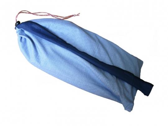 Buidel voor meditatiebankje, fijne blauwe ruit