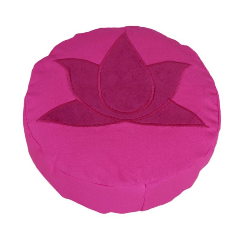 Meditatiekussen met lotus, bordeaux op fuchsia