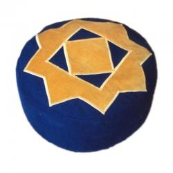Meditatiekussen met achthoekige ster, zandgeel op donkerblauw