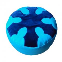 Meditatiekussen met wiel met zes spaken, blauw op helderblauw