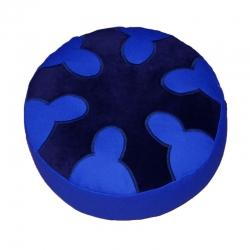 Meditatiekussen met wiel met zes spaken, blauw op kobaltblauw
