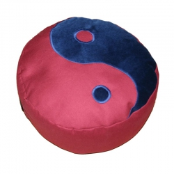 Meditatiekussen met yin yang teken, blauw op bordeaux