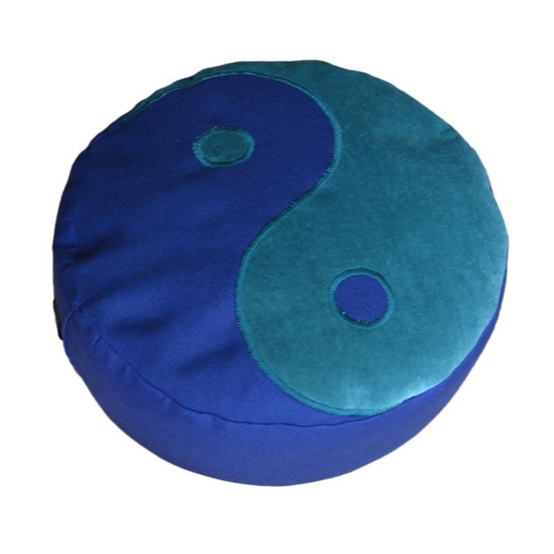 Meditatiekussen met yin yang teken, blauwgroen op donkerblauw