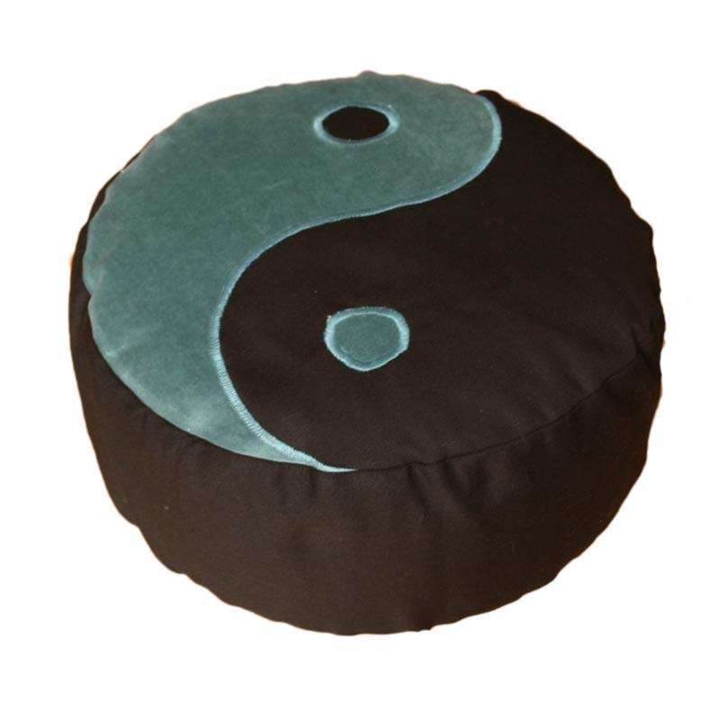 Meditatiekussen met yin yang teken, blauwgroen op zwart