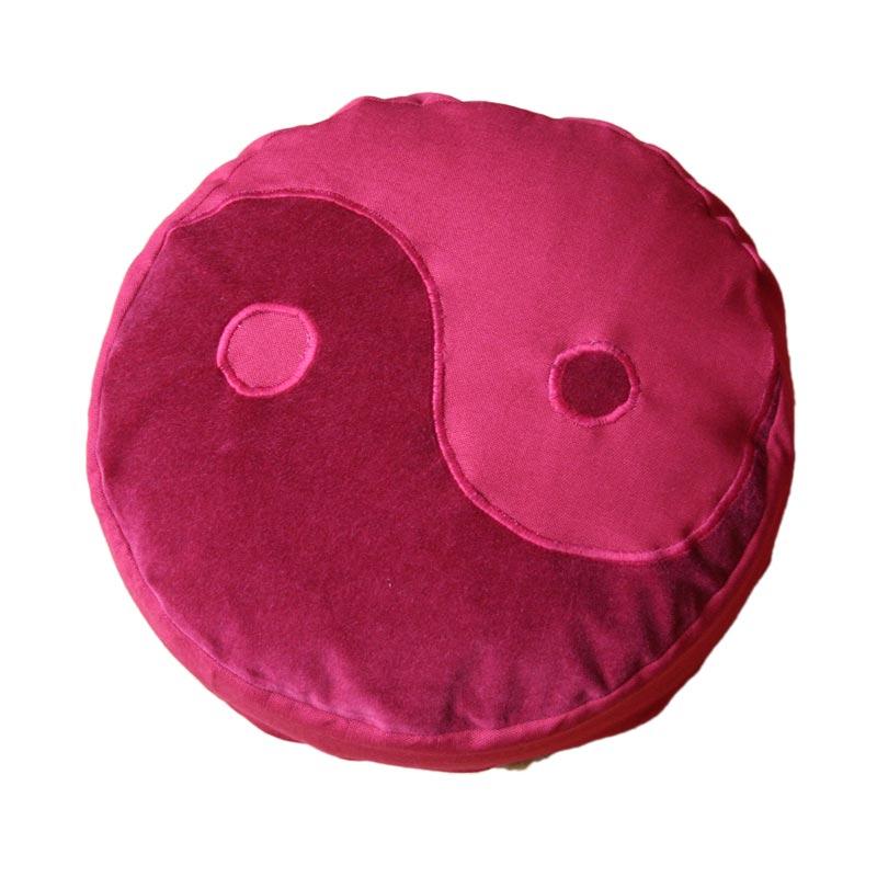 Meditatiekussen met yin yang teken, bordeaux op bordeaux