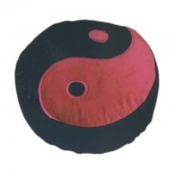 Meditatiekussen met yin yang teken, rood op zwart