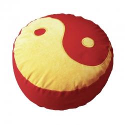 Meditatiekussen met yin yang teken, geel op rood
