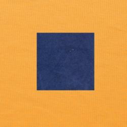 Blauw op oranjegeel