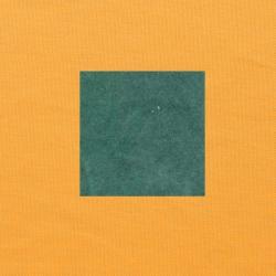 Blauwgroen op oranjegeel